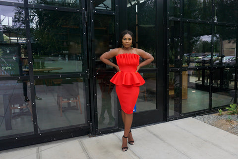 Boo thang Peplum Dress (Red)