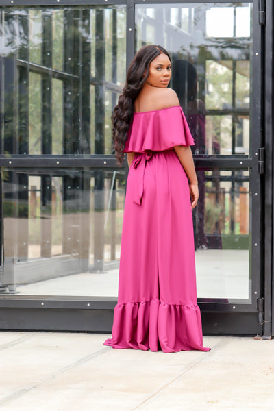 Lauren Offshoulder Maxi Dress(Raspberry)