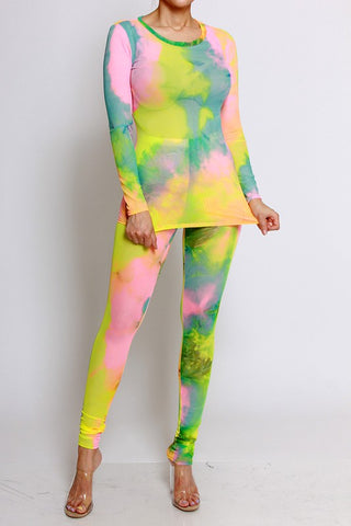 tie dye basic leggings set