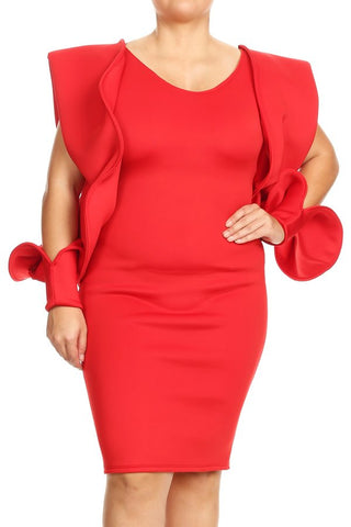 Wide Cuff Long Sleeve Dress (Red) - Plus