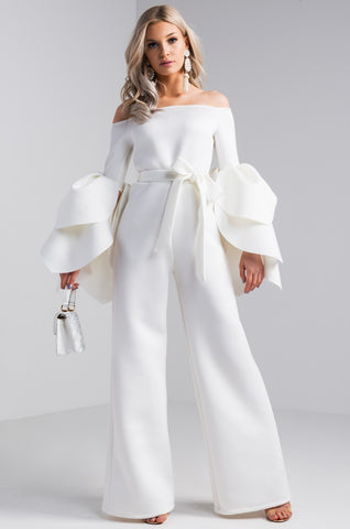 Lucy Offshoulder Jumpsuit (Ivory)