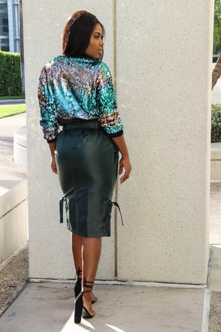 High Waist Leather Skirt(Green)