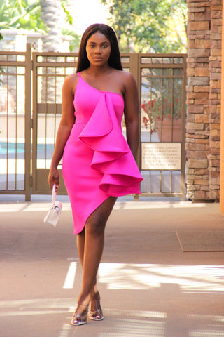Oh Slit Midi Dress (Hot Pink)