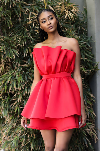 Bloom Midi dress(Red)