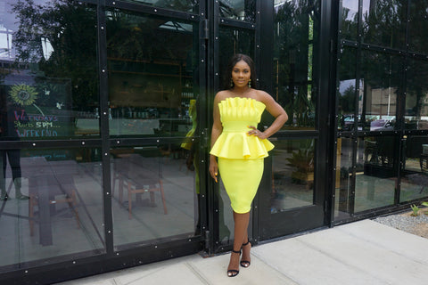 Boo Thang Peplum Dress(yellow)