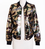 Army Sequin Bomber Jacket