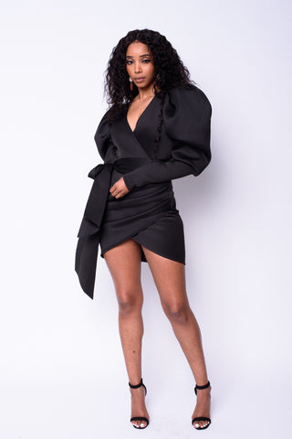 Puffy Sleeve Wrap Dress (Black)