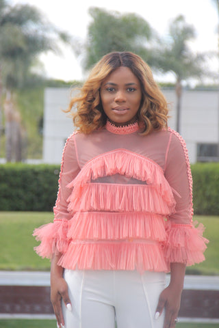 Lace Me Blouse (Blush)
