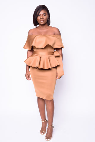 Sue Peplum Dress (Taupe)