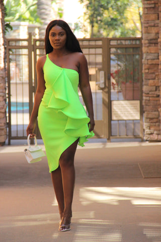 Oh Slit Midi Dress (lime Green)