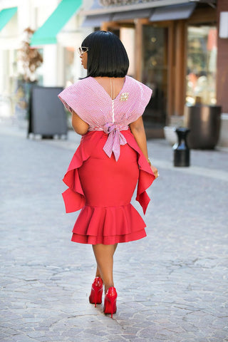 Asymmetrical Peplum Skirt(Red)