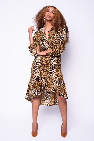 Leopard Print Asymmetrical Dress