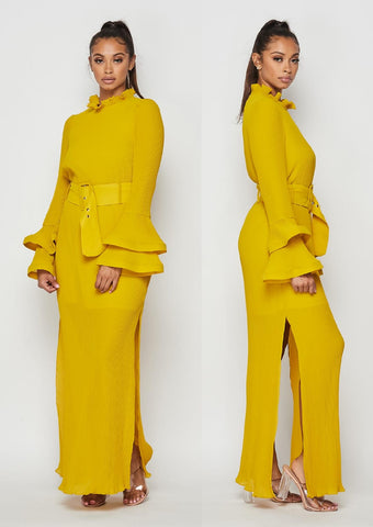 Double Slit Dress (Mustard)