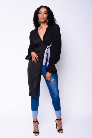 Asymmetrical Wrap Top (Black)