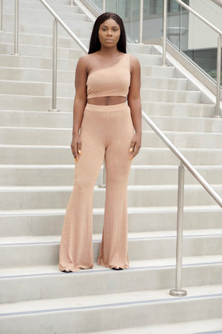 Nude Shimmer Pants Set