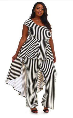 Stripe Down Jumpsuit - Plus