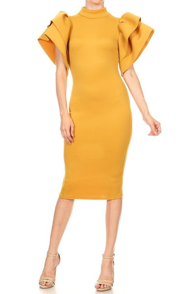 Wing it dress (Mustard)