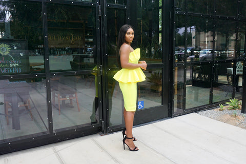 Boo Thang Peplum Dress (Yellow)