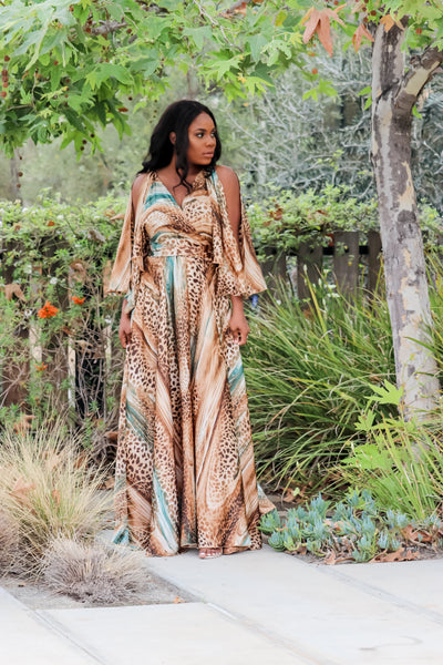 Tigress Maxi Dress(Brown)