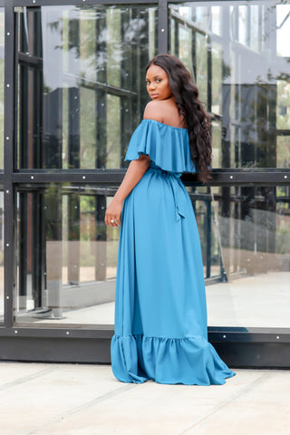 Lauren Offshoulder Maxi Dress(Teal)