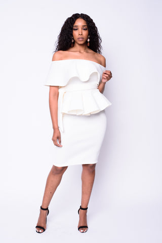 Sue Peplum Dress (Ivory)
