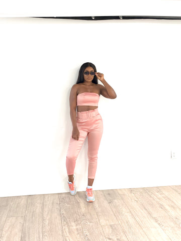 Strapless Bustier And Pant Set (Blush)