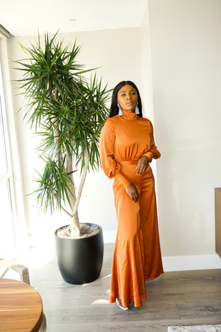 Wide Leg Halter Neck Jumpsuit (Copper)