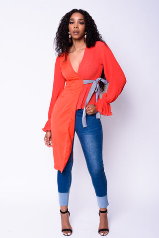 Asymmetrical Wrap Top (Red)