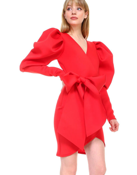 Puffy Sleeve Wrap Dress (Red)