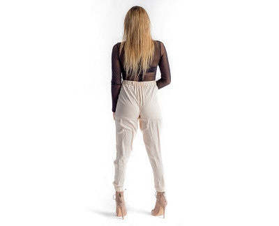 Pleated Overlapped Jogger Pants Cream