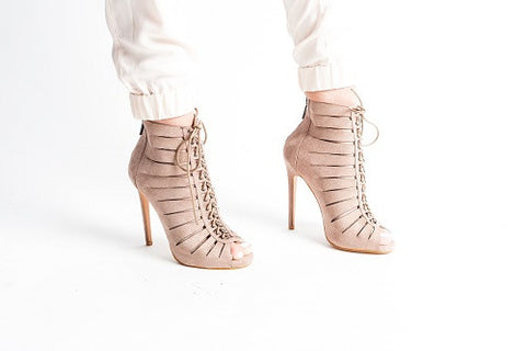 Laced Up Heels Taupe
