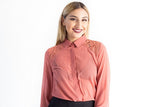 Lace Insert Button Down Shirt Salmon
