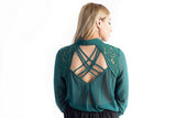 Lace Insert Button Down Shirt Forest Green