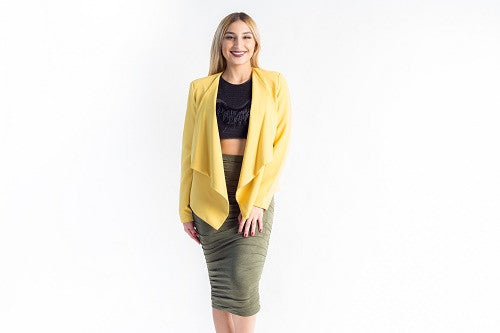 Zip Detal Draped Blazer