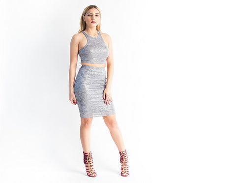 2 Piece Skirt Set Silver