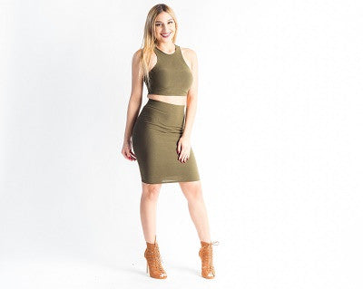 2 Piece Skirt Set Olive
