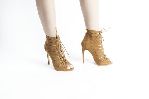 Lace Up Heel Tan