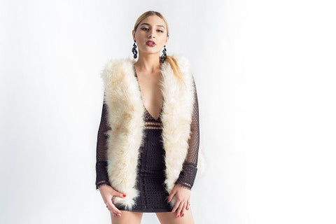 Faux Fur Vest in Cream size L