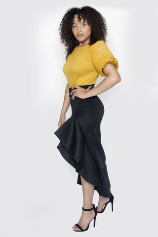 BLACK ASHLEY MIDI SKIRT