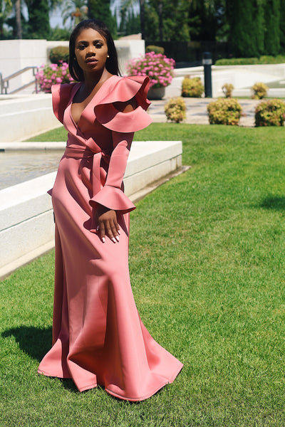 Rose Long Sleeve Maxi Gown