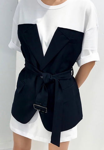 Belted V Neck Two Piece Set