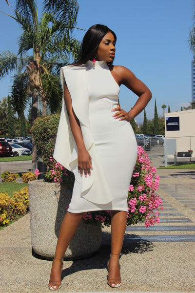 Stay Extra Midi Dress (Ivory)