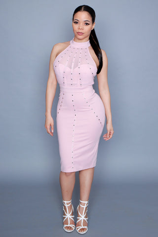 Studded Mock Neck Dress