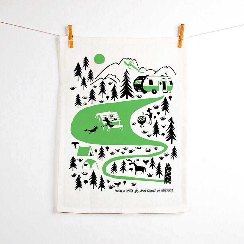 Camping Linen Tea Towel