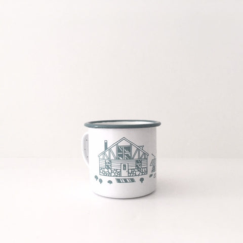 Pine Candle in Enamel Cup
