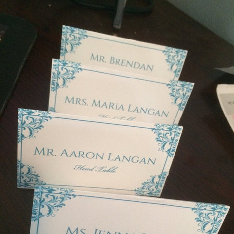 Easy vintage turquoise seating cards!