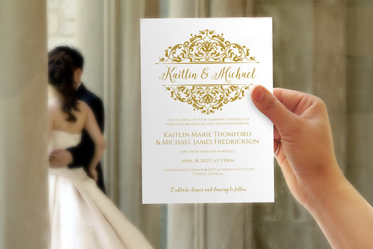 gold wedding templates  karma k. weddings, Wedding invitation