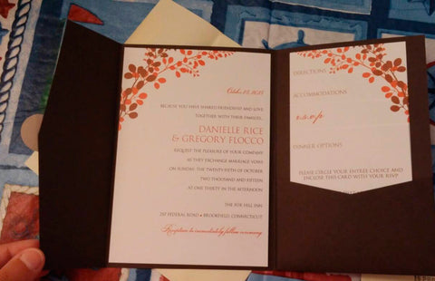 pocket wedding invitation - exquisite vines brown and orange