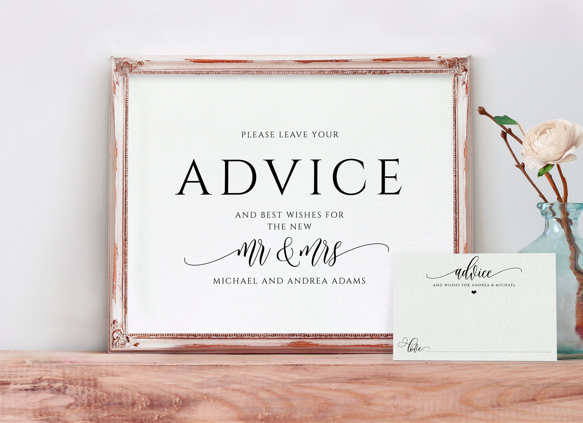 Printable Advice Wishes Card And Sign Template Flair Calligraphy