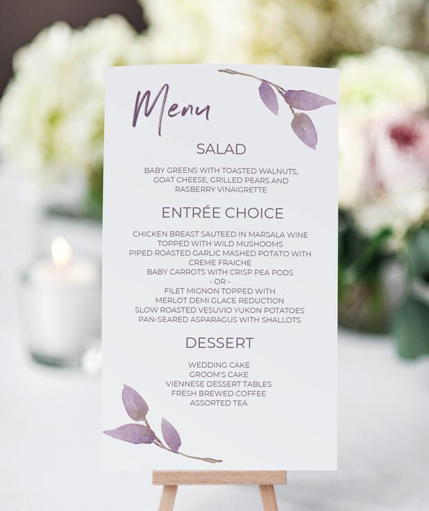image about Printable Menu Card called Printable Menu Card - Down load Suddenly - EDITABLE Terms - Boho Vines (Dusty Pink) 4 x 7